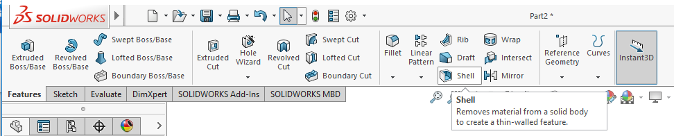 2 solidworks shell button
