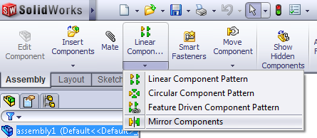67 117 solidworks assembly mirror component selection